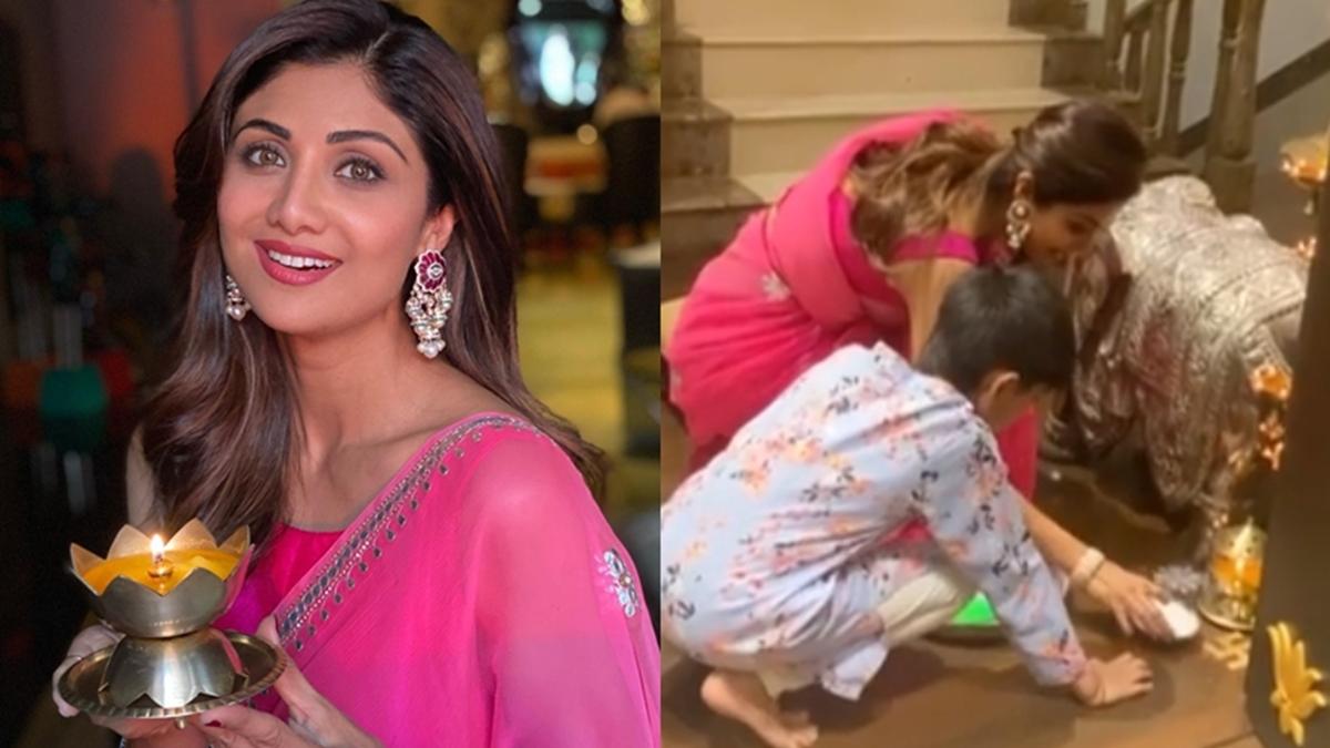 Watch: Shilpa Shetty Kundra, son Viaan kickstart Diwali festivities with rangoli-making