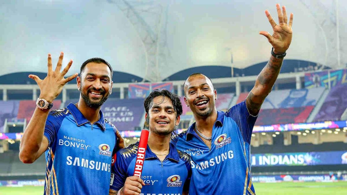 Mumbai Indians players Krunal Pandya (L), Ishan Kishan (C) and Hardik Pandya (R) celebrate after winning the IPL final against Delhi Capitals, at Dubai International Cricket Stadium in Dubai, Tuesday, Nov. 10, 2020