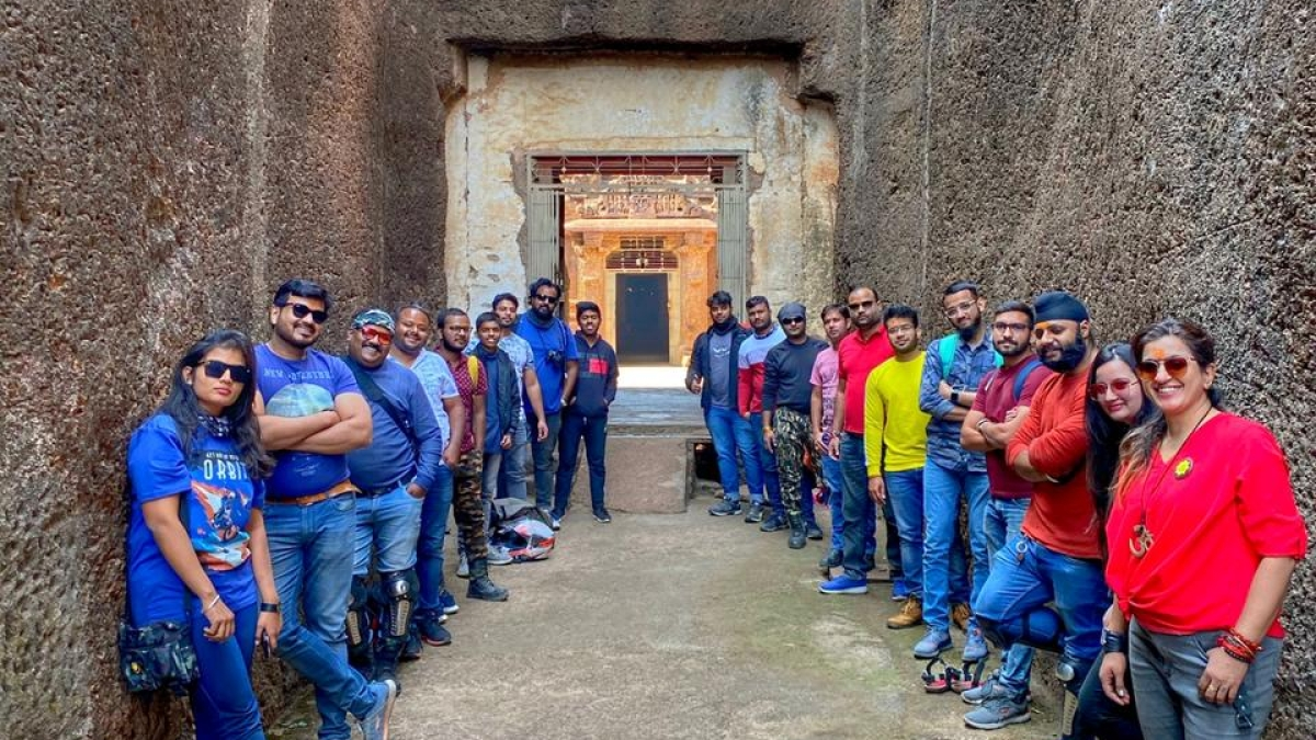 The riders peek into 9th century discovering historic caves and temples