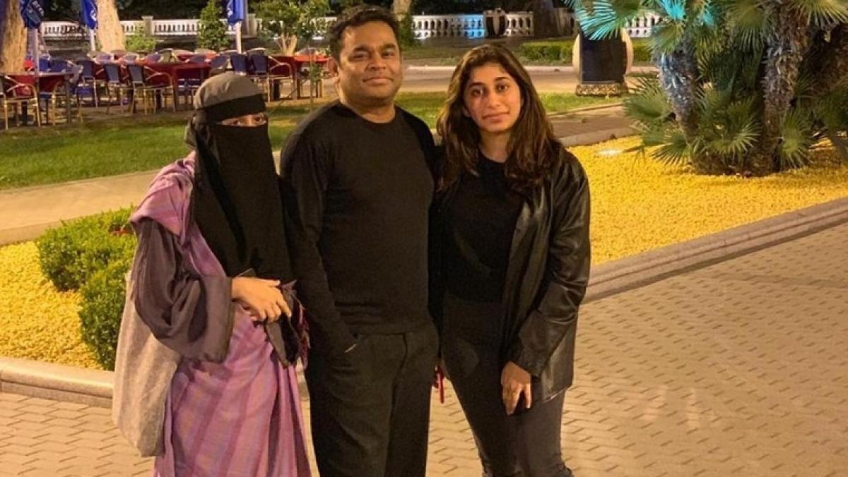 Khatija (left) with father A R Rahman