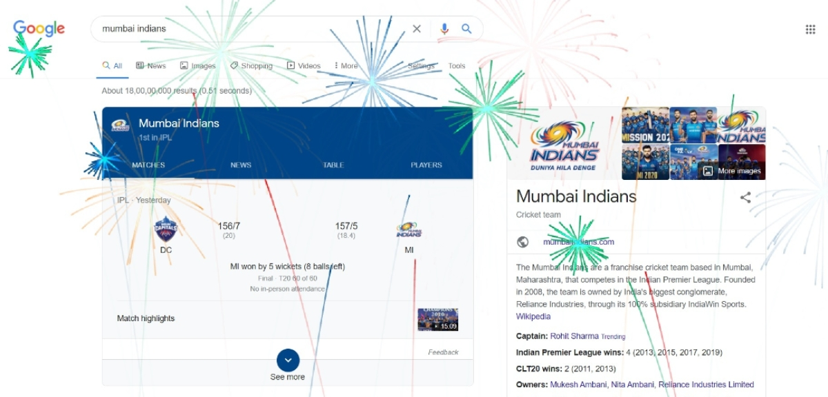 Search for Mumbai Indians on Google and get this 'surprise'