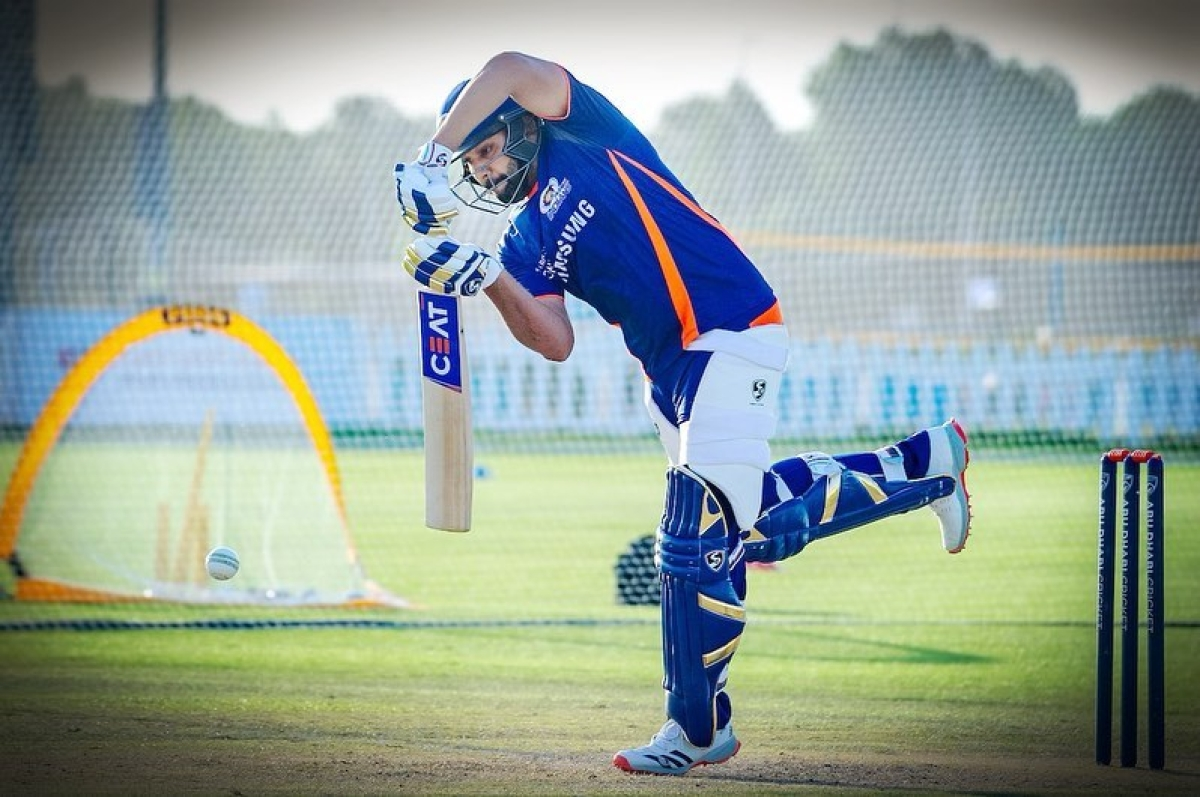 Rohit Sharma practising in the nets