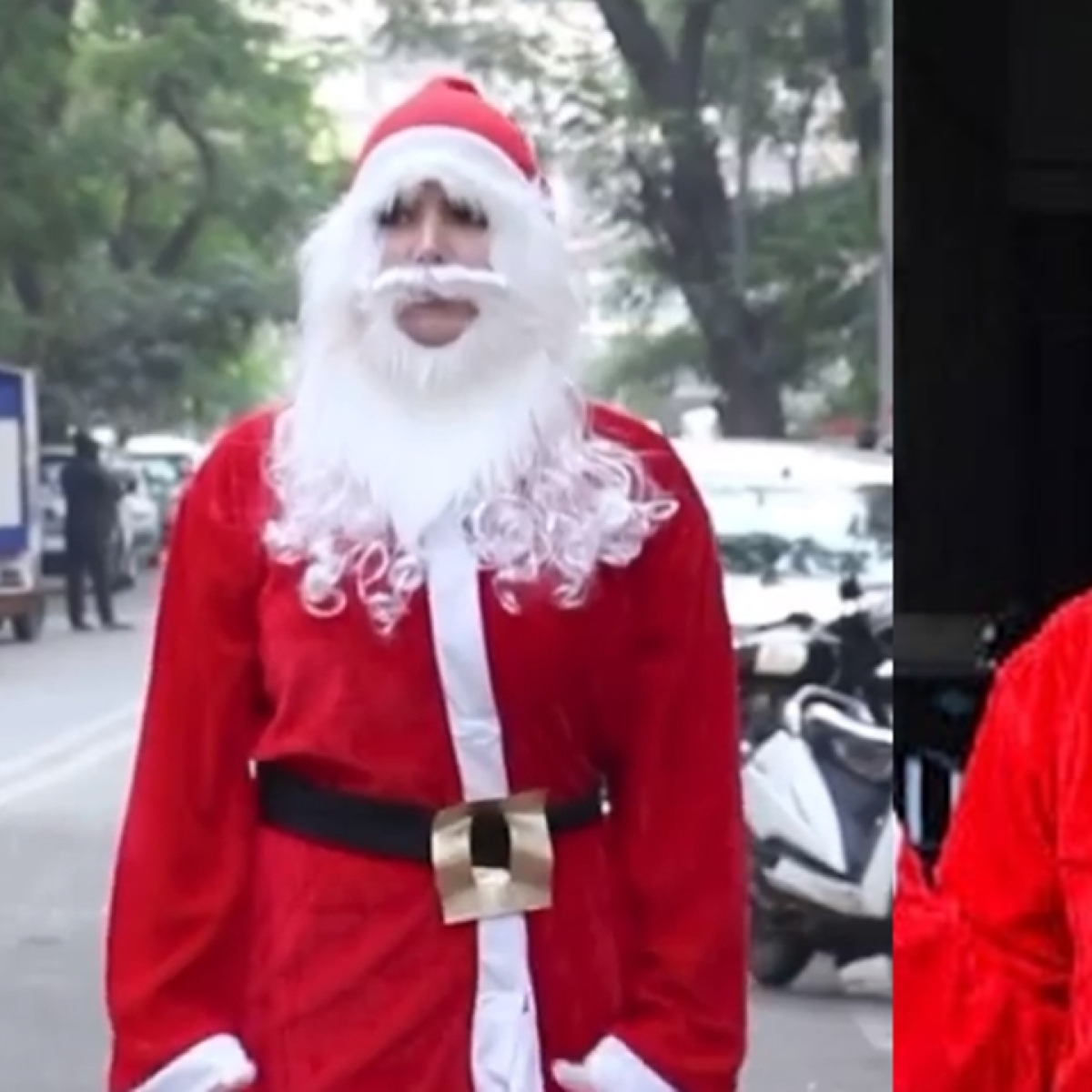 Watch: Zareen Khan spotted roaming on streets of Bandra dressed up as Santa Claus