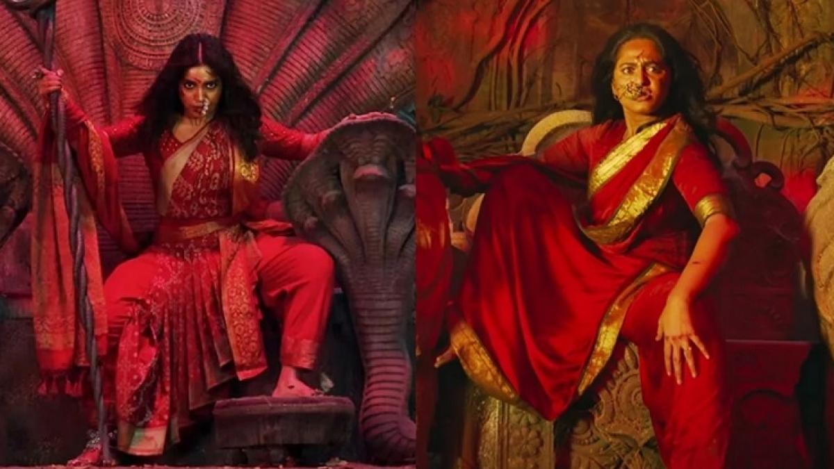 (Left) Bhumi in Durgamati, Anushka Shetty in Bhaagamathie