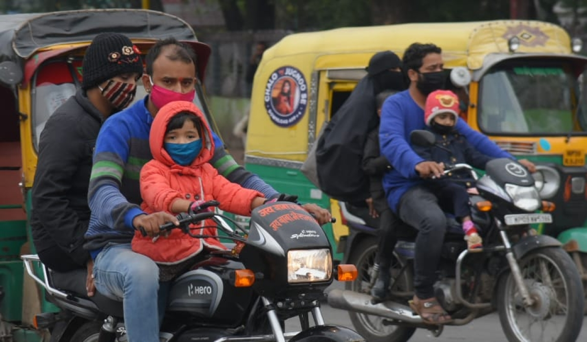 Commuters in Indore on Monday