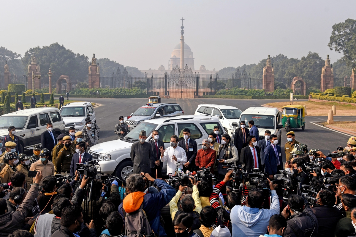 Congress leaders Rahul Gandhi speaks to media outside Rashtrapati Bhavan as he along with Ghulam Nabi Azad and Adhir Ranjan Chowdhury call on the President Ram Nath Kovind.