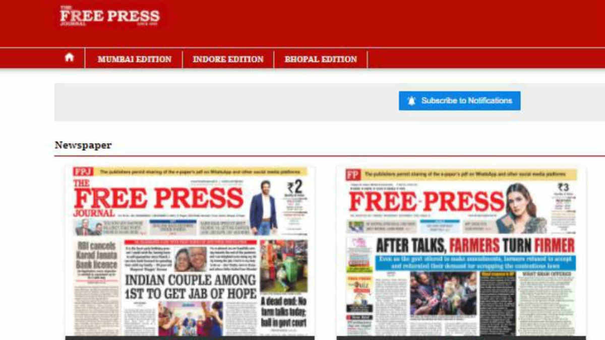 Free Press Journal Newspaper stands by its readers, allows sharing of its e-paper PDF on all social media platforms