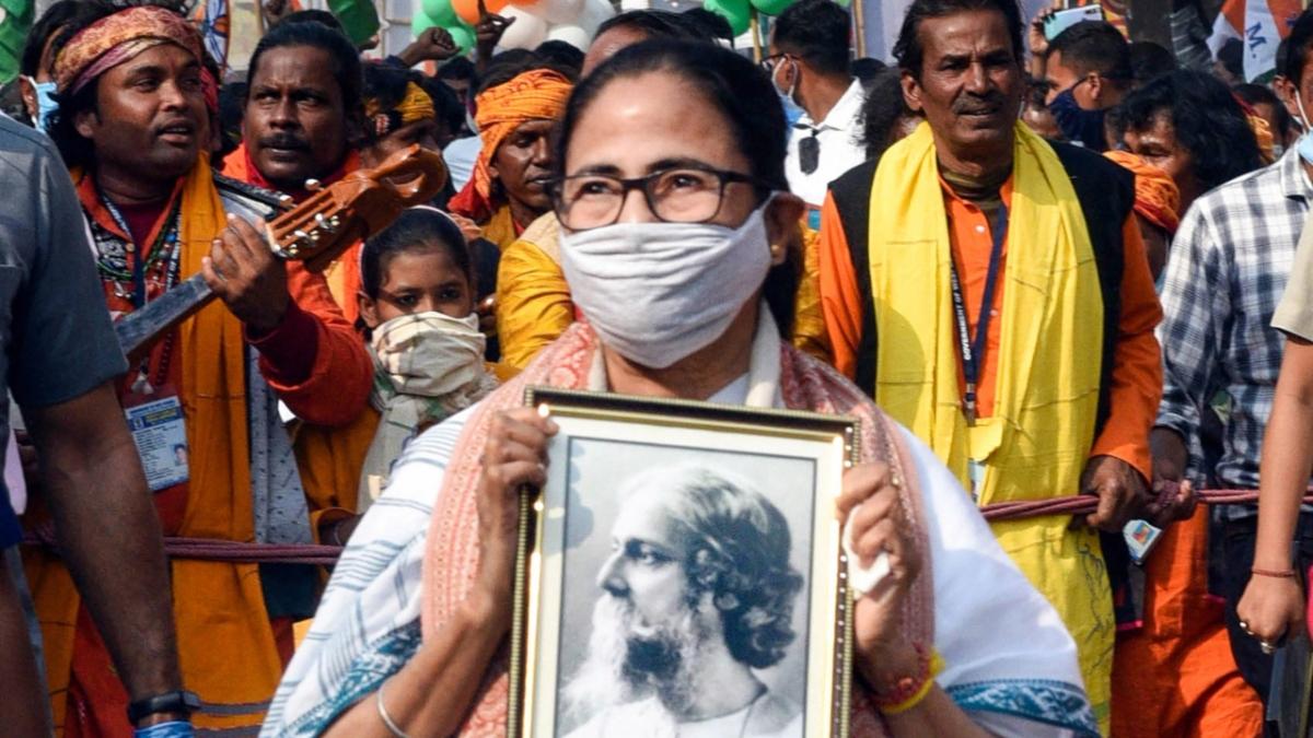 Birbhum: West Bengal Chief Minister Mamata Banerjee during her Padayatra ahead of the state assembly polls 2021, at Shantiniketan in Birbhum District.
