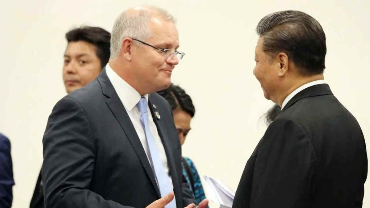 Australian Prime Minister Scott Morrison and Chinese President Xi Jinping during the 2019 G20 summit in Osaka, Japan