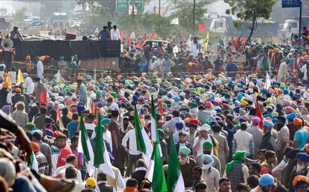 Farmers at Singhu border