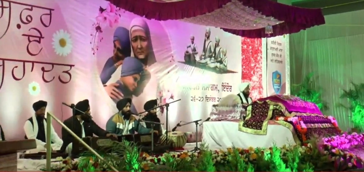 Sikh community members attending Gurumat Samagam at Guru Amardas Hall on Saturday