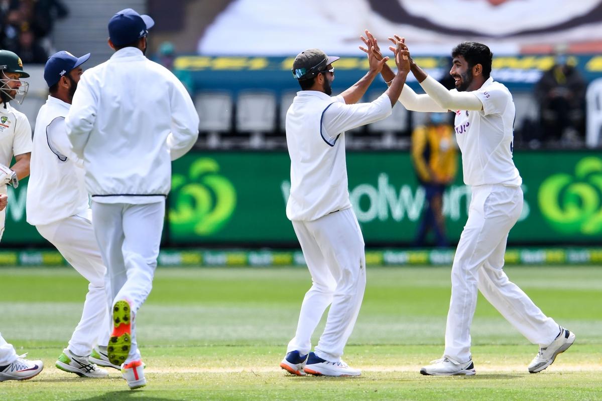 Jasprit Bumrah celebrates a wicket of Australian