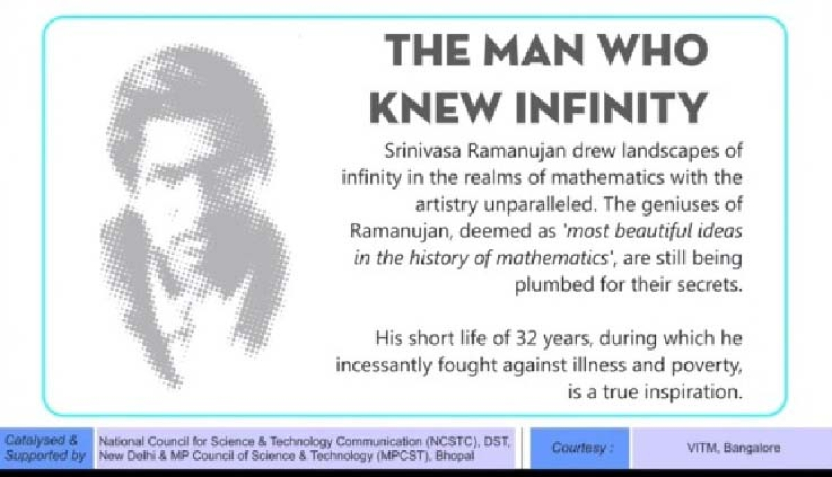 Bhopal: Virtual presentation of expo 'The Man Who Knew Infinity' held at Regional Science Centre