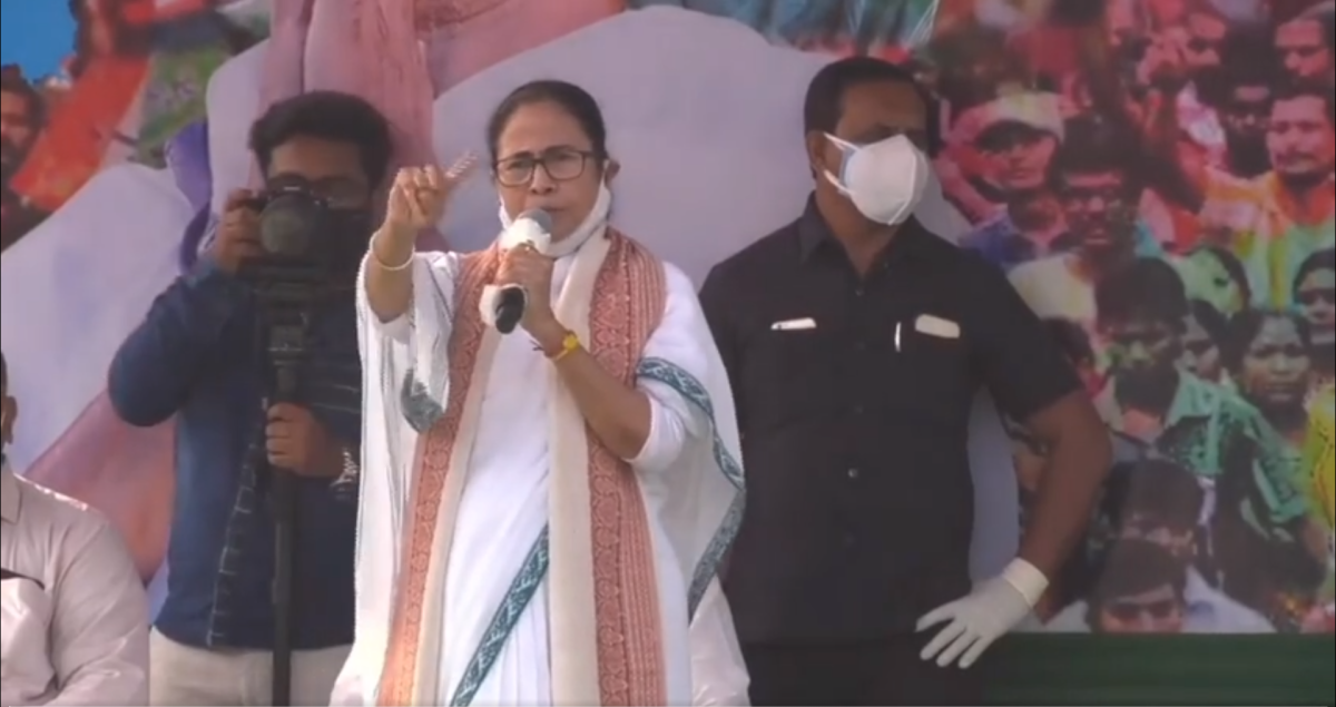 West Bengal CM Mamata Banerjee at the Bolpur rally on Tuesday
