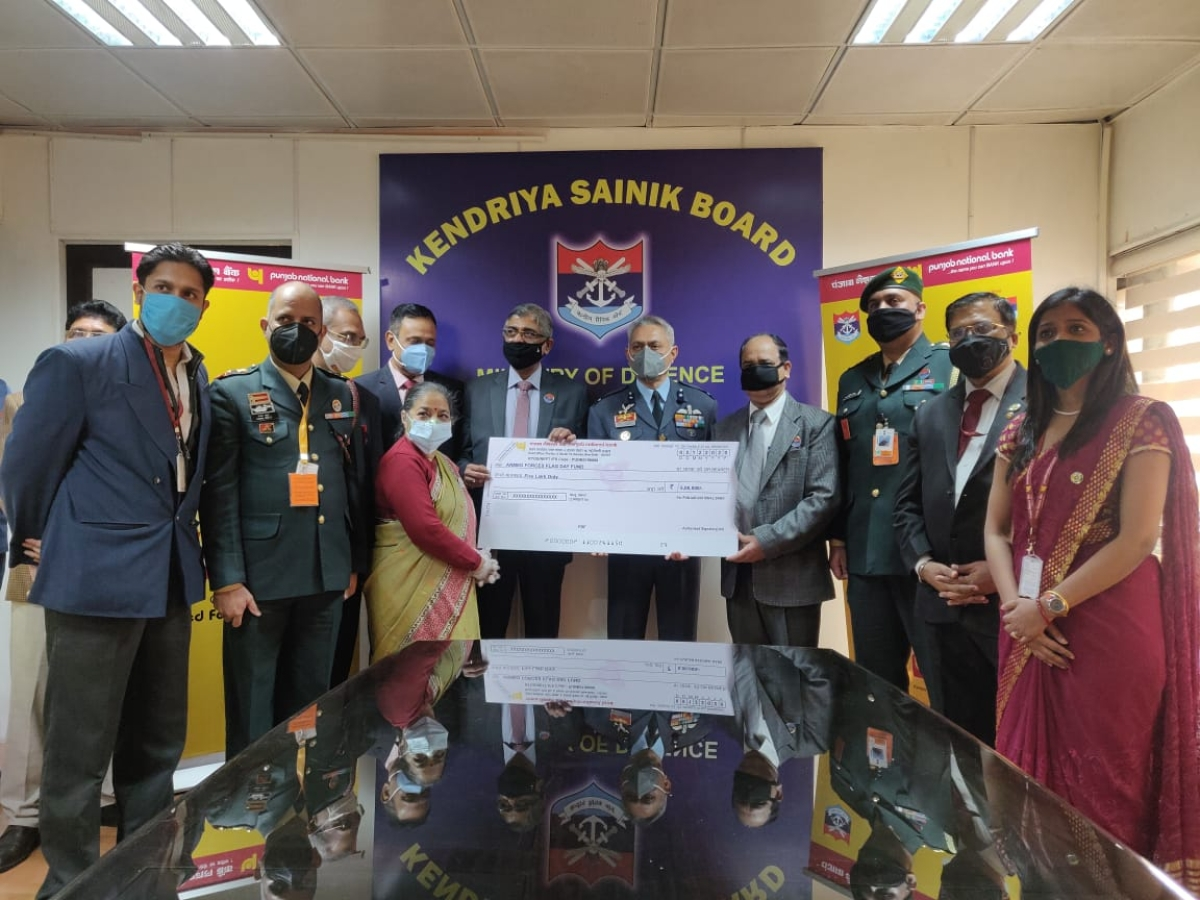 Punjab National Bank contributes to Armed Forces Flag Day Fund