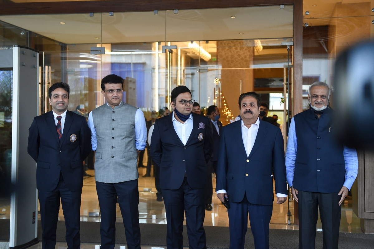 (L to R) Arun Dhumal, treasurer of the Board of Control for Cricket in India (BCCI), Sourav Ganguly, president of Board of Control for Cricket in India (BCCI), Jay Shah, BCCI secretary, Rajiv Shukla, newly appointed Vice-President of BCCI and Brijesh Patel, member of the IPL Governing Body, pose for pictures after attending the Annual General Meeting (AGM) of the BCCI, at Skyline Taj Hotel on the outskirts of Ahmedabad on December 24, 2020