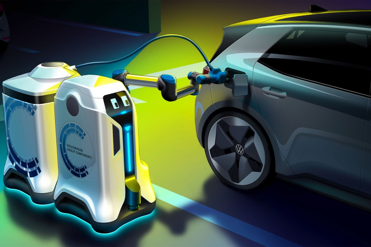 Volkswagen unveils 'visionary' electric car-charging robot
