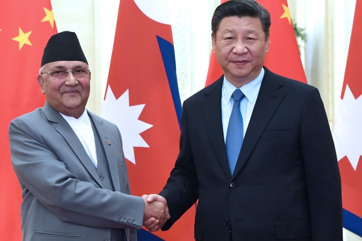 Nepal Prime Minister K P Sharma Oli with Chinese president Xi Jinping