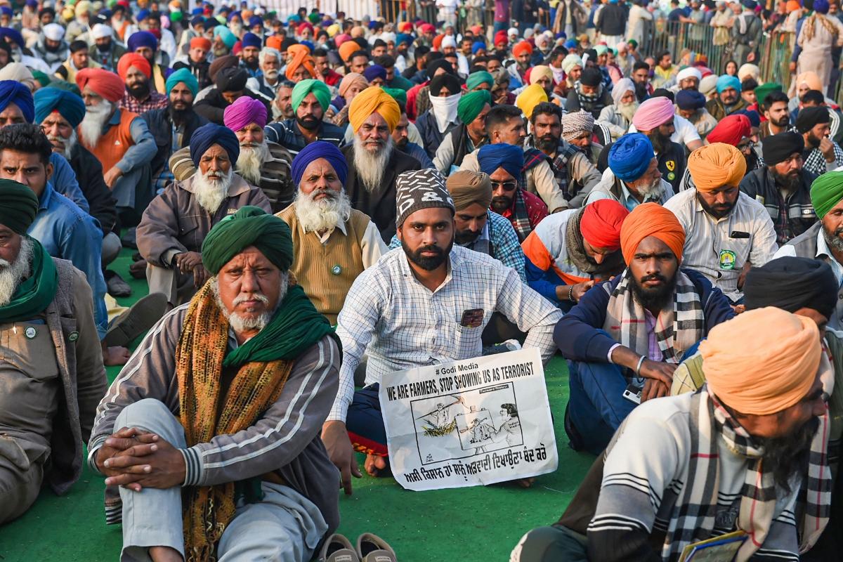 New Delhi: Farmers during their protest against the Centers new farm laws, at Singhu Border in New Delhi, Thursday, Dec. 24, 2020