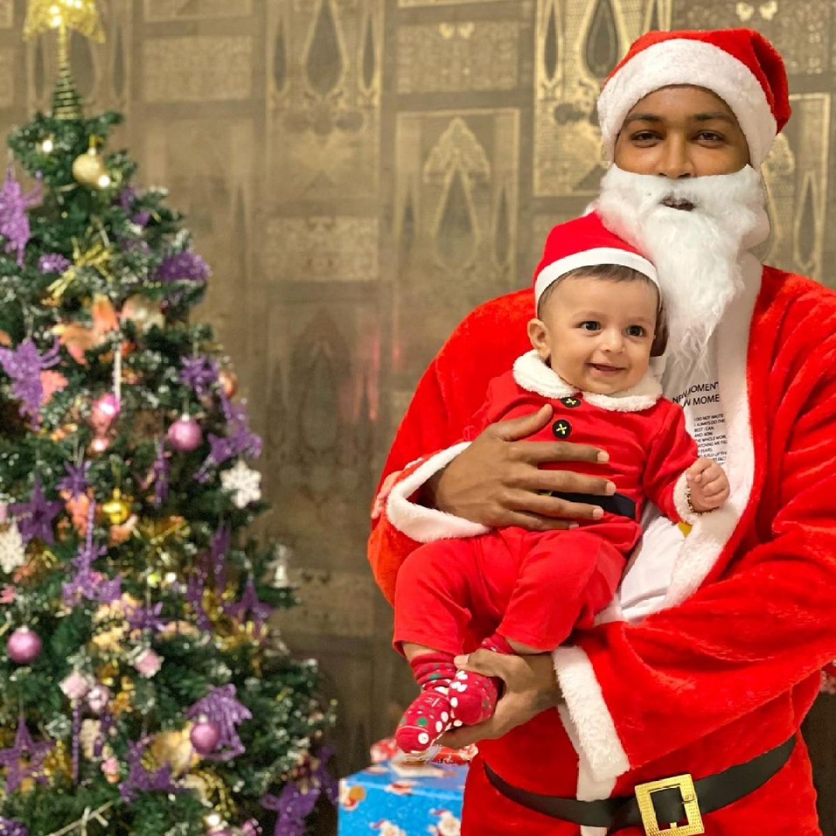 In Pics: Hardik Pandya turns Santa for baby boy Agastya's first Christmas