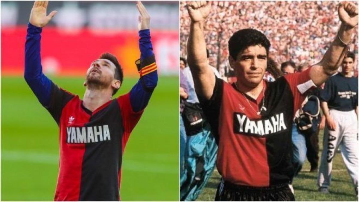 Lionel Messi (L), Diego Maradona (R)