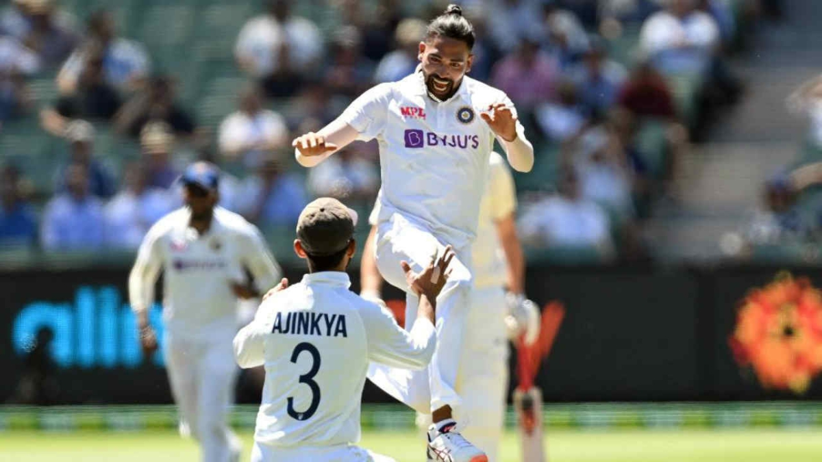 Mohammed Siraj celebrates the dismissal during the second test match of the series between India and Australia at Melbourne Cricket Ground in Melbourne on Saturday