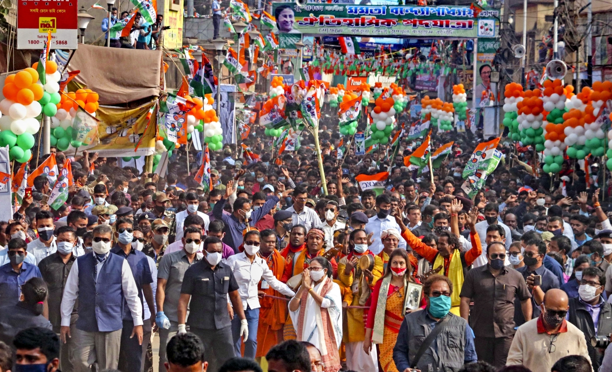 West Bengal Chief Minister Mamata Banerjee during a rally ahead of West Bengal Assembly polls 2021, at Bolpur in Birbhum district of West Bengal, Tuesday, Dec. 29, 2020. Also seen is TMC MP Satabdi Roy.
