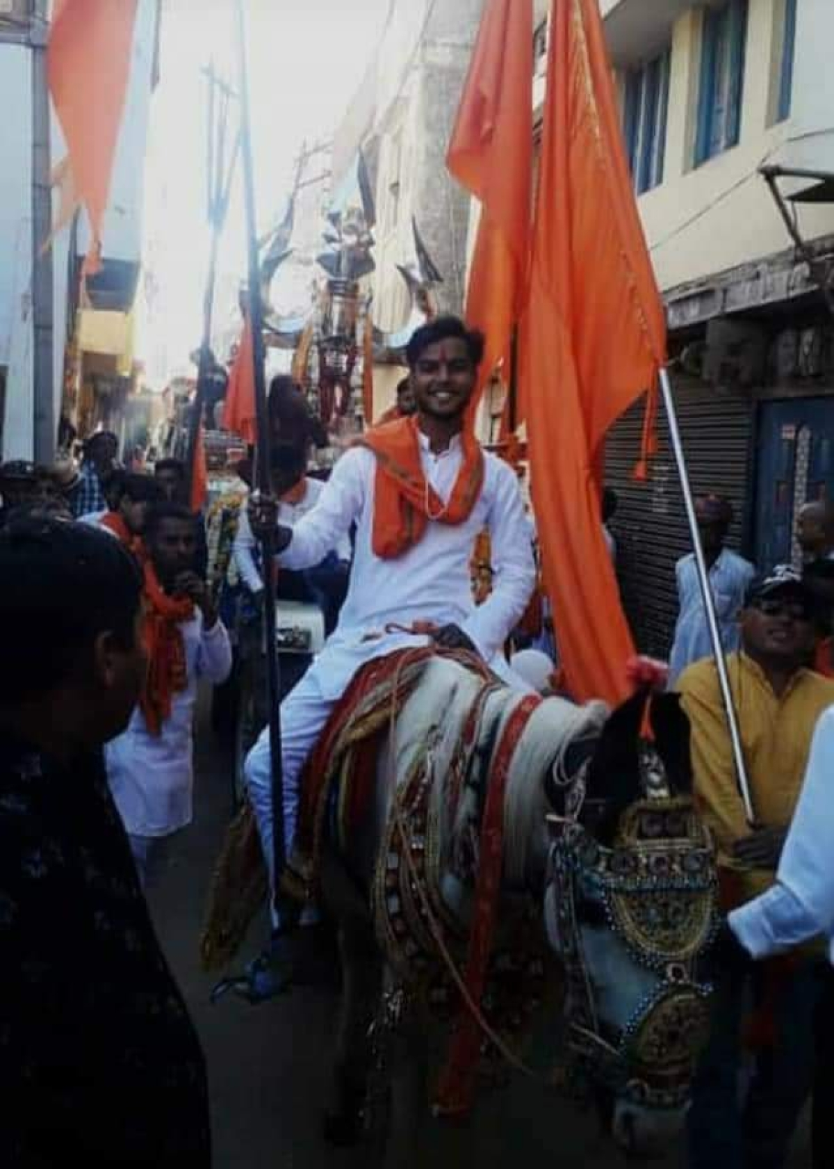 Procession taken out in Agar on Monday evening