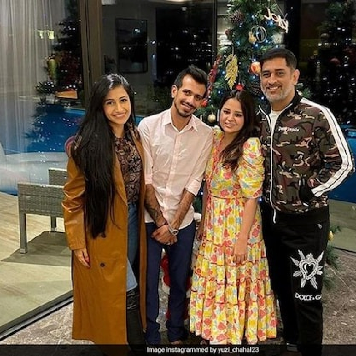 In Pics: Newly-wed Yuzvendra Chahal and Dhanashree Verma enjoy dinner with MS Dhoni, Sakshi in Dubai