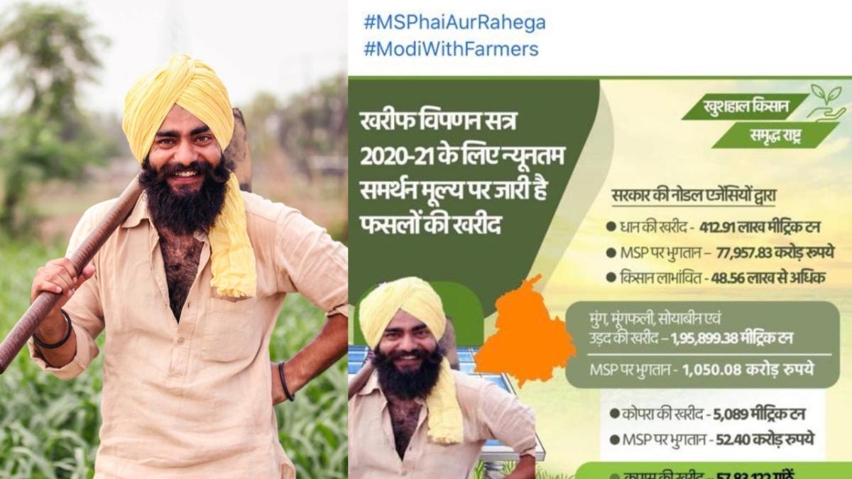 Protesting farmer Harpreet Singh (L) was enraged at the BJP Punjab Facebook post (R)