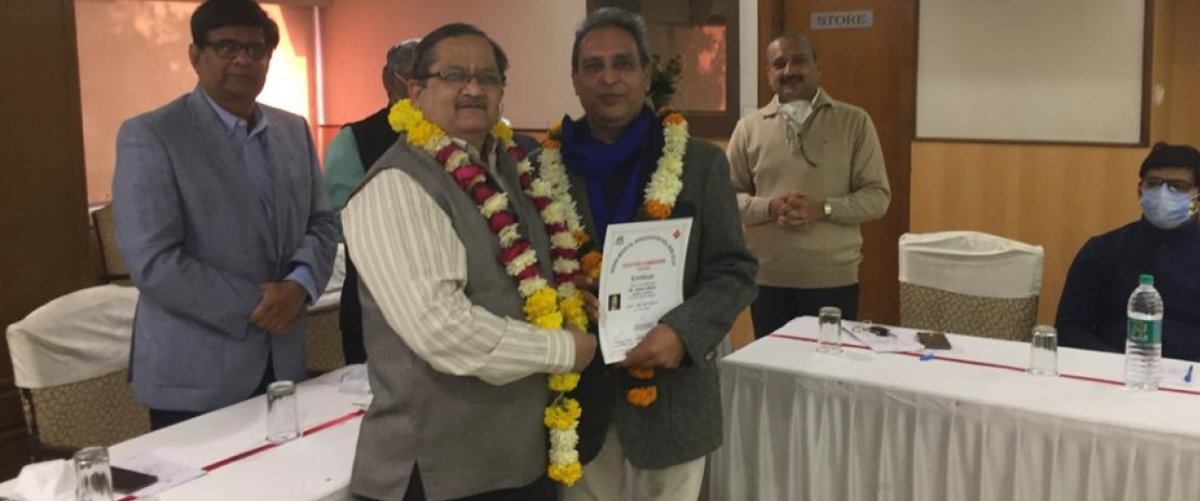 Dr Sharda being felicitated for his appoint as Dean of College of General Medical Practitioners