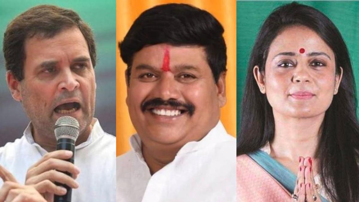 Several veteran leaders -- including BJP's Anil Firojiya (C), Congress' Rahul Gandhi (L), and Trinamool Congress' Mahua Moitra (R) -- are part of the list