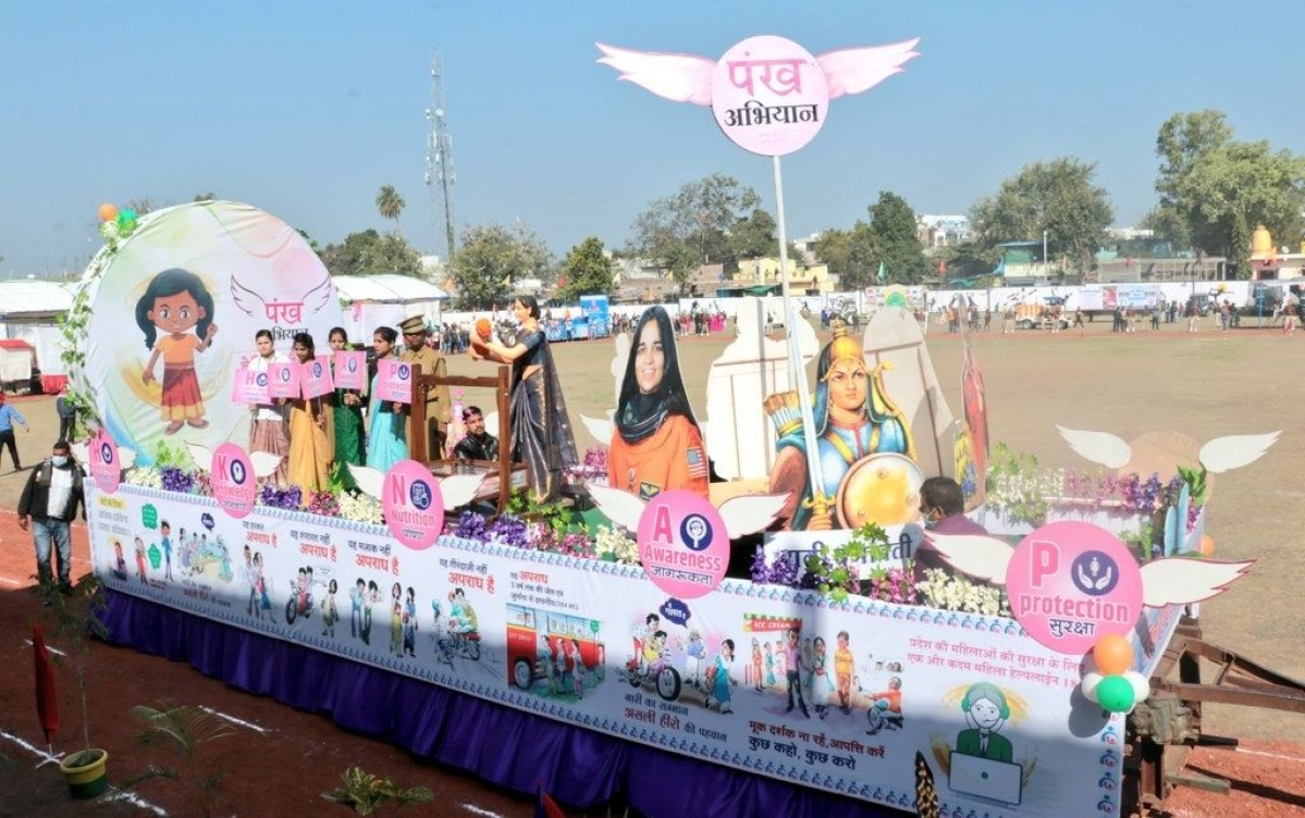 Attractive tableaux based on schemes and activities were also drawn by various departments during Republic Day celebration in Dhar on Tuesday