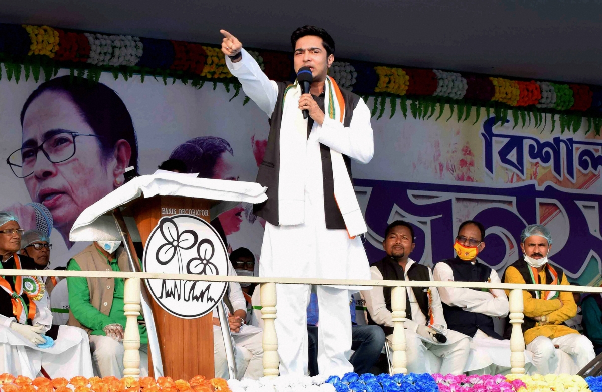 Trinamool Congress leader and West Bengal Chief Minister Mamata Banerjee's nephew Abhishek Banerjee addresses a public rally at Gangarampur in South Dinajpur district on Thursday.