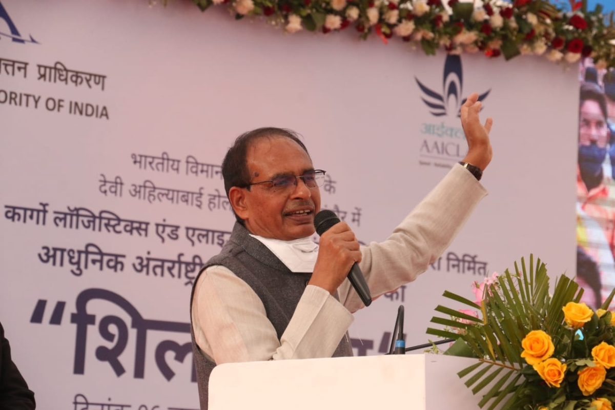 Chief minister Shivraj Singh Chouhan at a function in Indore on Wednesday