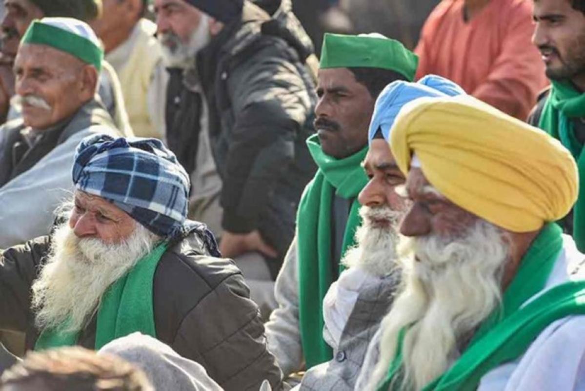 Protesting farmers at Ghazipur border, Delhi
