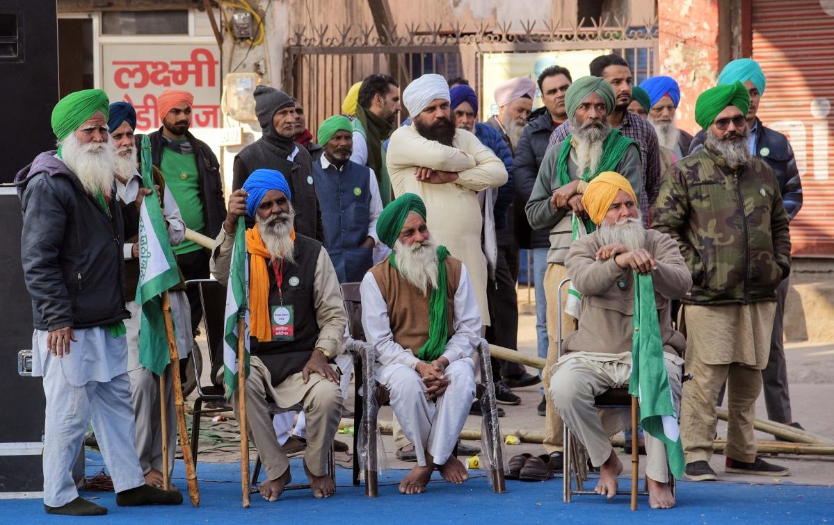 Farmers sitting at Tikri Border during a protest against farm law, in New Delhi on Jan 21.
