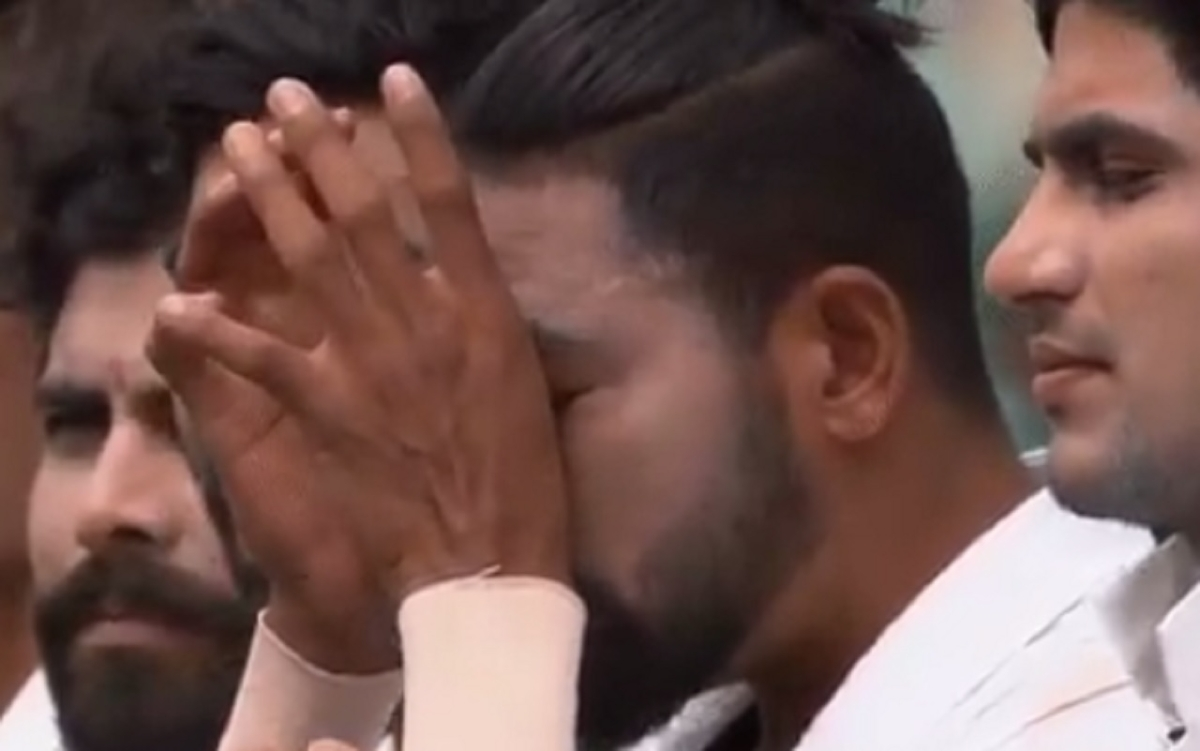 Indian pacer Mohammad Siraj was on Thursday seen tearing up while singing the national anthem