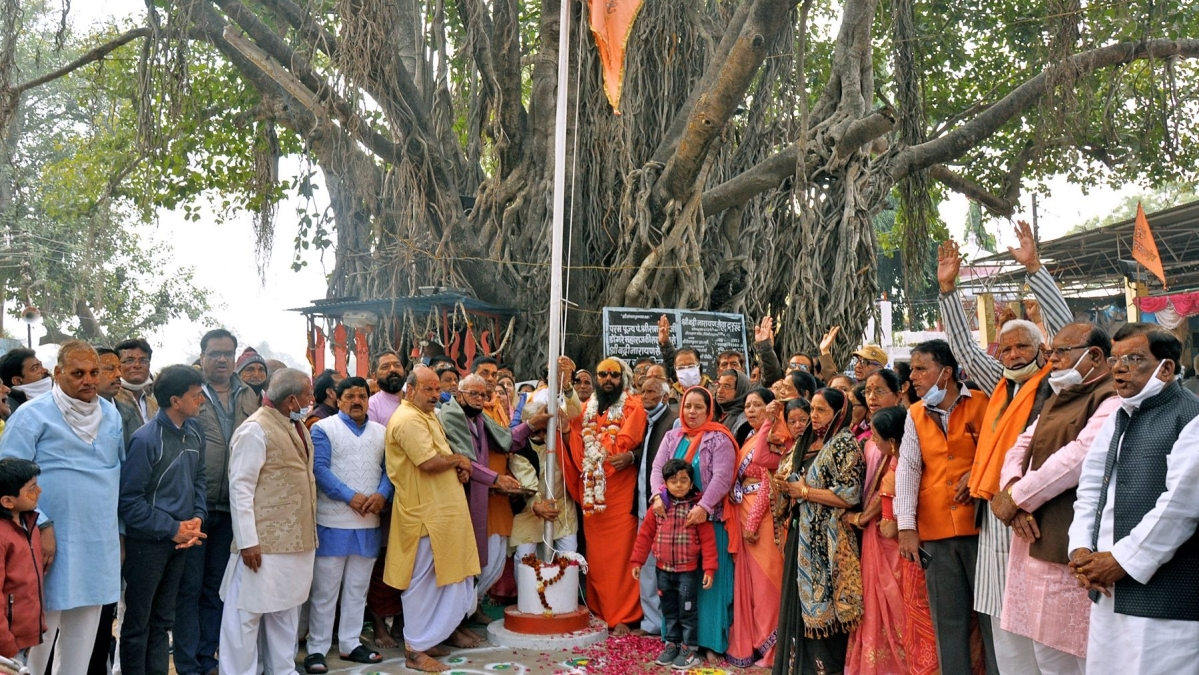 Religious gathering at Triveni Ghat at the beginning of Maharudra Yagya in Ratlam on Monday