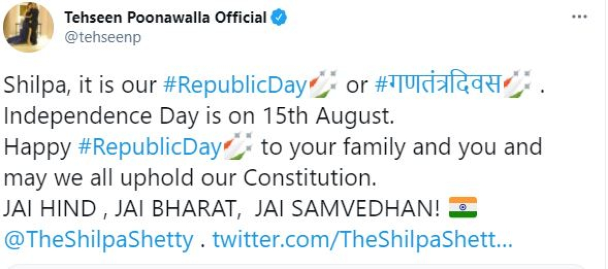 Shilpa Shetty brutally trolled for confusing 'Republic' with 'Freedom' in R-Day post