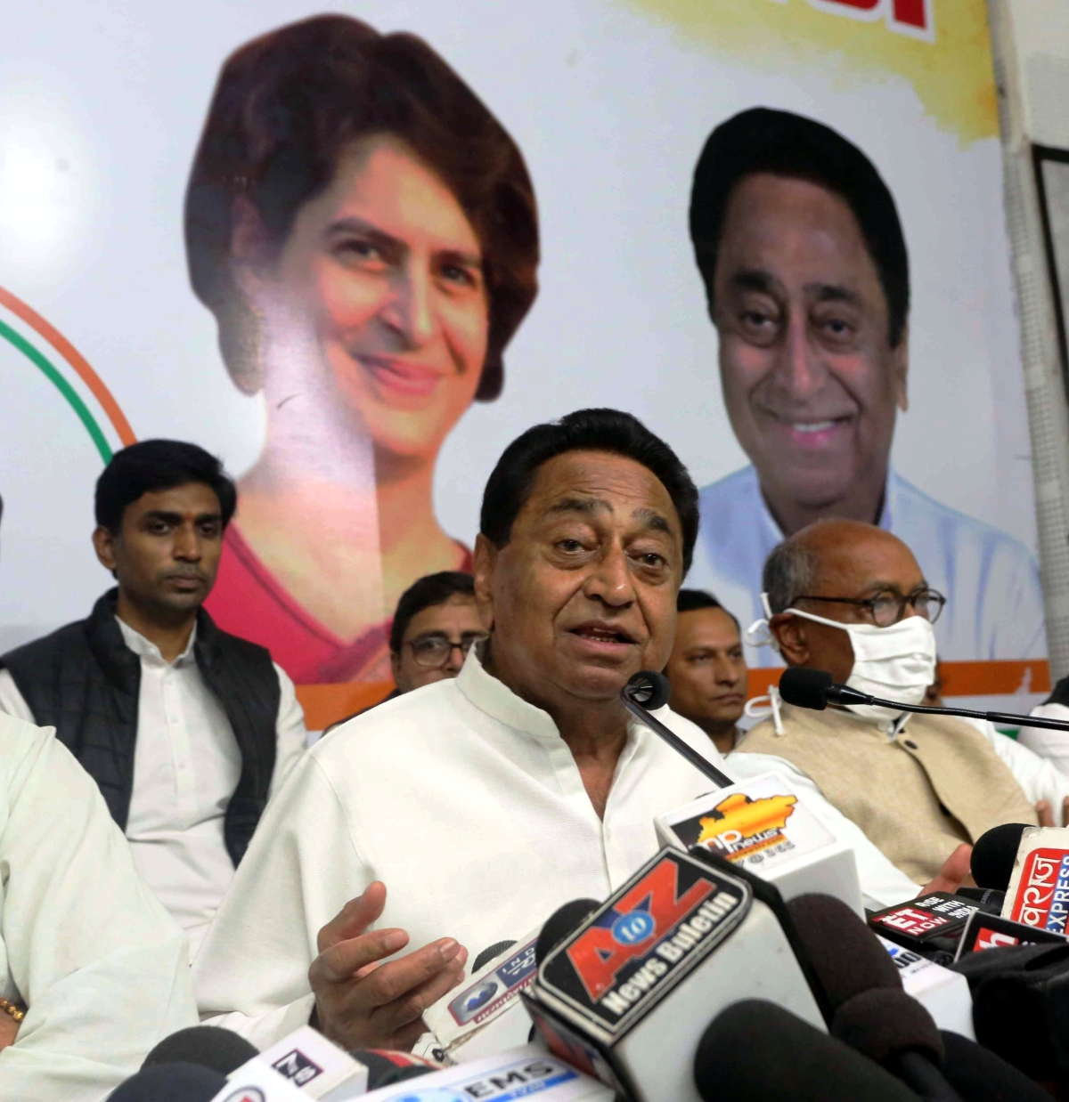 Kamal Nath interacts with media person at Pradesh Congress Committee office in Bhopal on Thursday.