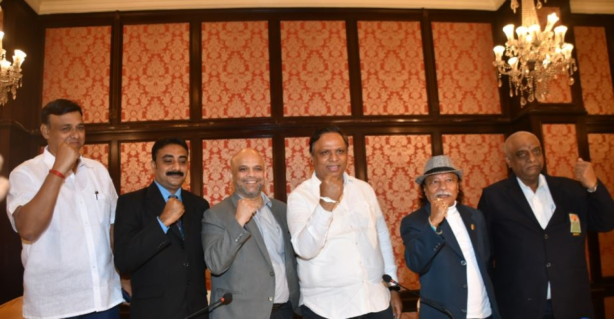 PACKING A PUNCH: Adv Ashish Shelar (third right), Jay Kowli (third left), Dr CB Raje (2nd left), Asit Banerjee (2nd right), Rajesh Desai (far left) and Prof Anil Mishra at the media interaction at the MCA Recreation Center, Bandra-Kurla Complex in Mumbai on Saturday.
