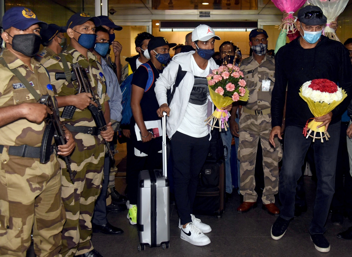Indian cricketers arrive at Mumbai International Airport on Thursday