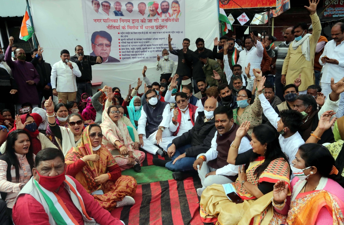 Former minister PC Sharma stages sit-in in front of BMC headquarters