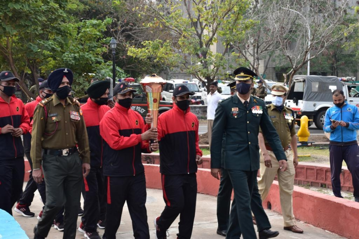 Golden victory flame arrived at CRPF headquarters in Bhopal on Thursday