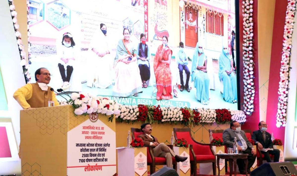 Chief Minister Shivraj Singh Chauhan addresses Atmanirbhar Madhya Pradesh at Minto Hall on in Bhopal on Thursday.