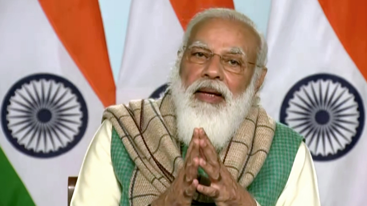 Prime Minister Narendra Modi addresses during a meeting with Chief Ministers of all states, discussing COVID-19 situation and vaccination rollout, through video conferencing in New Delhi on Monday.