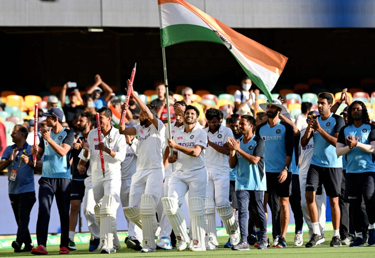 From depletion to completion:  Led by skipper Rahane, Team India did a victory lap at the Gabba after the historic series win