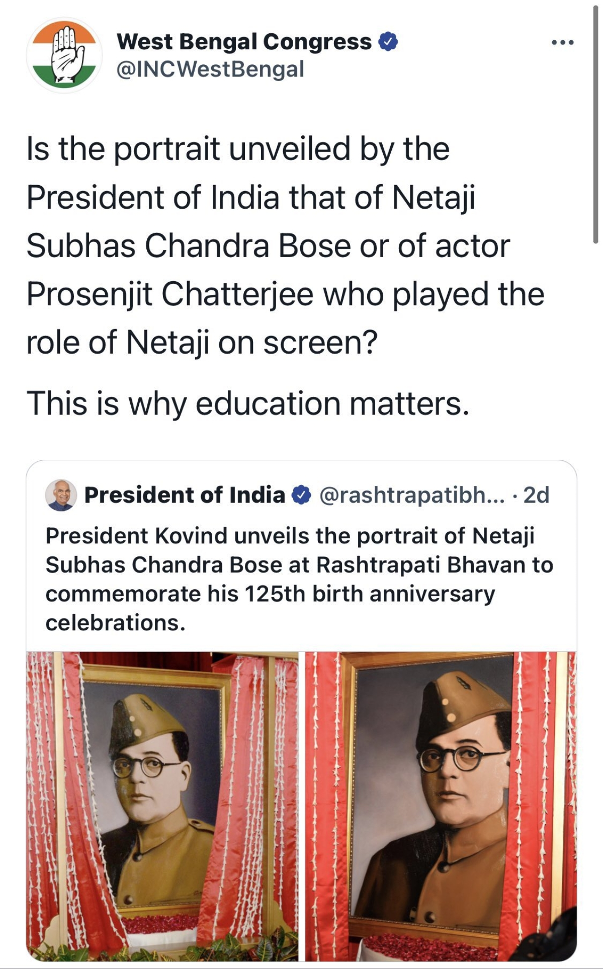 'Is that Netaji or...?' Twitter debates as President Kovind unveils new portrait of Subhas Chandra Bose