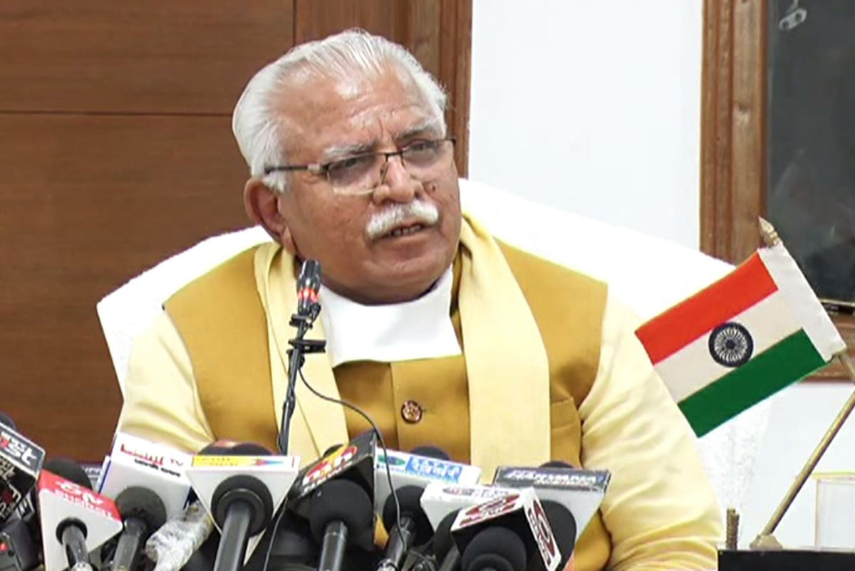 Haryana Chief Minister Manohar Lal Khattar addresses a press conference, in Chandigarh, Sunday, Jan. 10, 2021